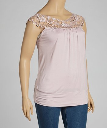 Pink Lace Crocheted Tank - Plus