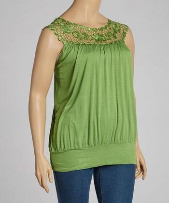 Green Lace Crocheted Tank - Plus