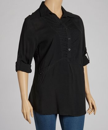 Black Tab-Sleeve Top - Plus