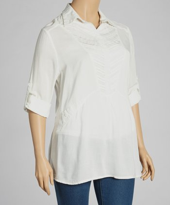 Ivory Tab-Sleeve Top - Plus