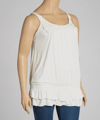 Ivory Lace Crochet Tank - Plus