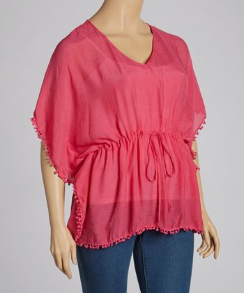 Pink Ball Fringe Drawstring Top - Plus