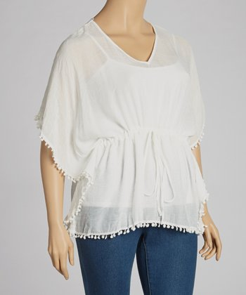 Ivory Ball Fringe Drawstring Top - Plus