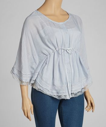 Silver Lace-Trim Drawstring Top- Plus