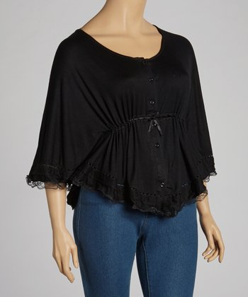 Black Lace-Trim Drawstring Top - Plus