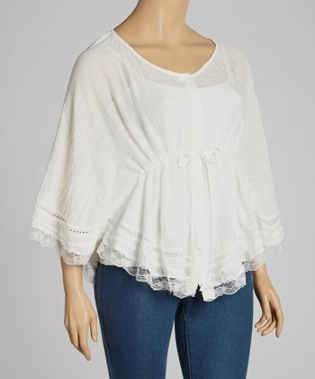 Ivory Lace-Trim Drawstring Top - Plus