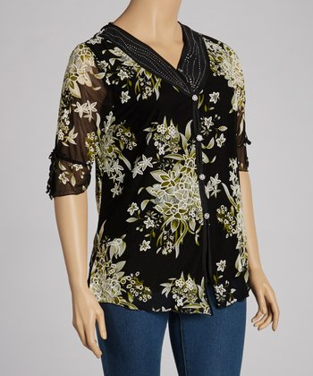 Green & Black Floral Top - Plus