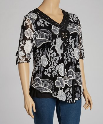 Black & Gray Beaded Top - Plus