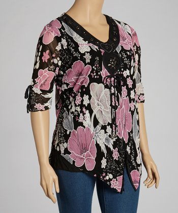 Black & Pink Beaded Top - Plus