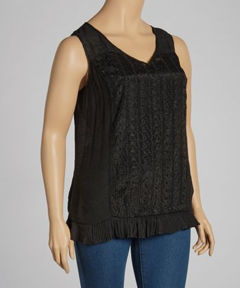 Black Eyelet Sleeveless Top - Plus