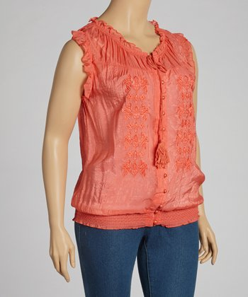 Coral Lace Sleeveless Top - Plus