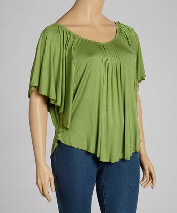 Green Cape-Sleeve Top - Plus