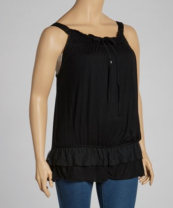 Black Lace-Trim Tank - Plus