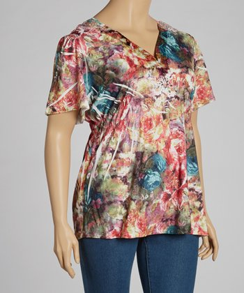 Fuchsia Floral V-Neck Top - Plus