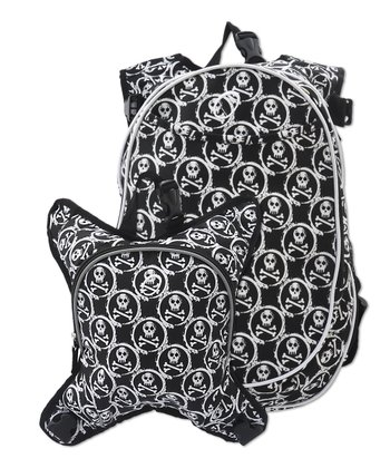 White & Black Skulls Innsbruck Diaper Bag Backpack & Cooler Set