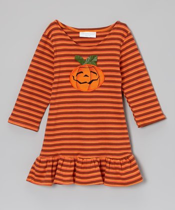 Orange Stripe Jolly Jack-O-Lantern Dress - Infant, Toddler & Girls