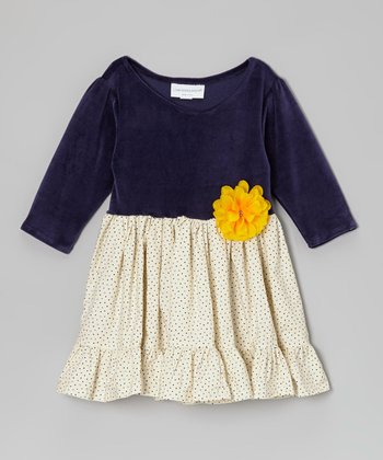 Navy Swiss Dot Ruffle Dress - Infant & Toddler