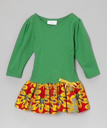 Green Psychedelic Drop-Waist Dress - Infant & Toddler