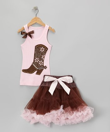 Pink Boot Tank & Brown Curly Tutu - Toddler & Girls