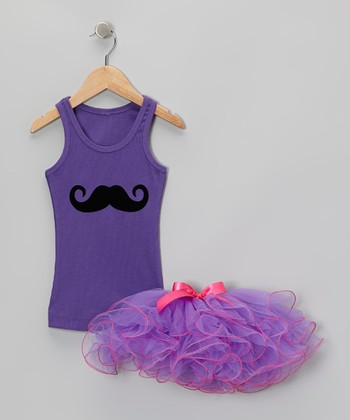 Purple Mustache Tank & Curly Tutu - Toddler & Girls