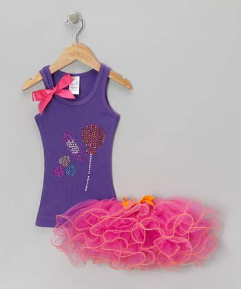 Purple Candy Tank & Pink Curly Tutu - Toddler & Girls