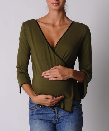 Olive Green Surplice Maternity & Nursing Top