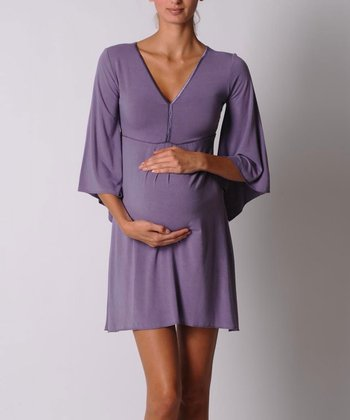 Lavender Bell-Sleeve Maternity Dress