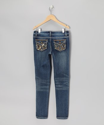 Dark Wash Star Skinny Jeans - Girls