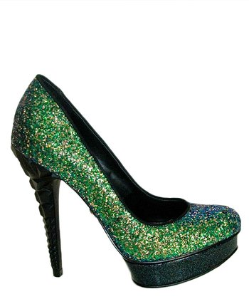 Green Keedan Glitter Pump