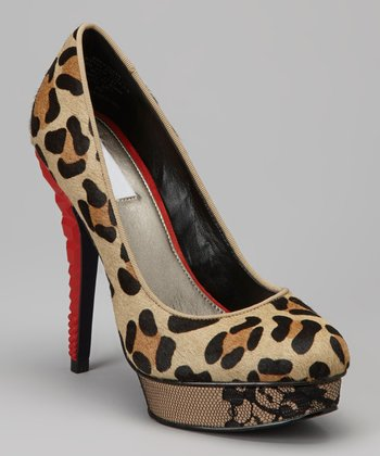 Natural Keedan Leopard Pump