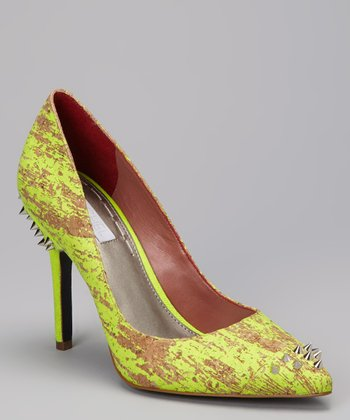 Yellow Miyang Studded Pump