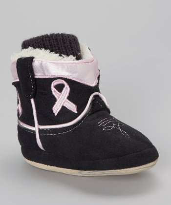 Black & Pink Ribbon Cuffed Cowboy Boot