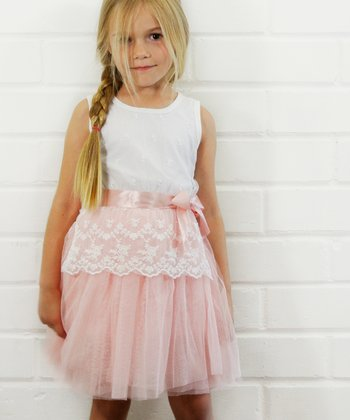 White & Pink Lace Tulle Dress - Toddler