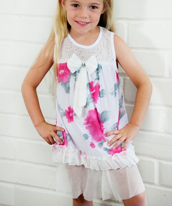 Pink & White Floral Ruffle Bow Dress - Girls
