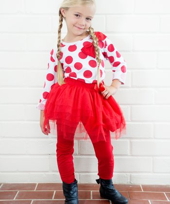 Red Polka Dot Tee & Skirted Leggings - Toddler & Girls
