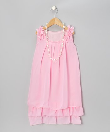 Pink Chiffon Petal Dress & Pearl Necklace - Girls