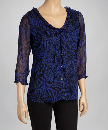 Blue & Black Abstract Three-Quarter Sleeve Top