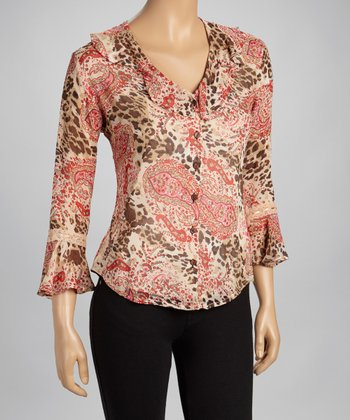 Red Animal Three-Quarter Sleeve Top