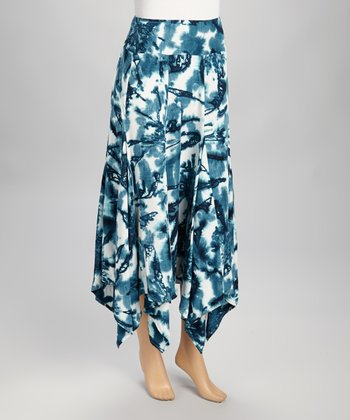 Blue & White Tie-Dye Skirt