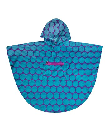 Aqua Big Dot Poncho