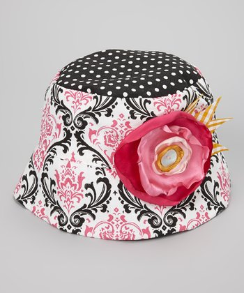 Hot Pink & Black Polka Dot Damask Amy Bucket Hat