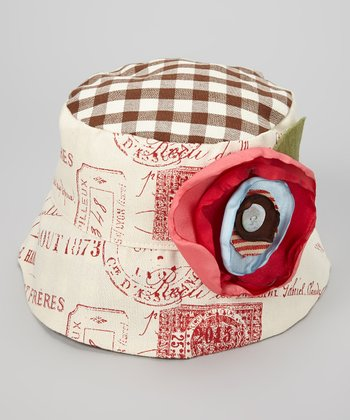 Cream & Red Gingham Postmark Clara Bucket Hat