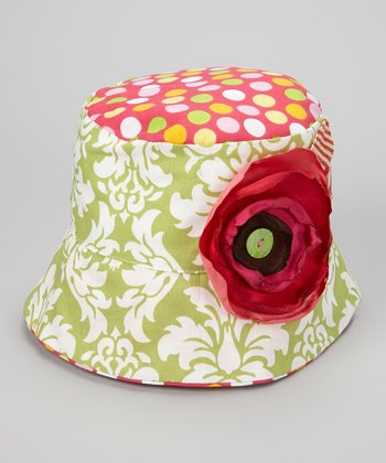 Green & White Damask Olivia Jane Bucket Hat