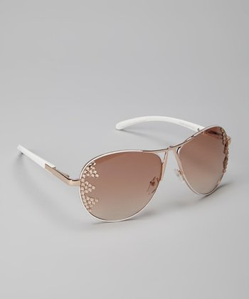 White Pilot Bling Sunglasses