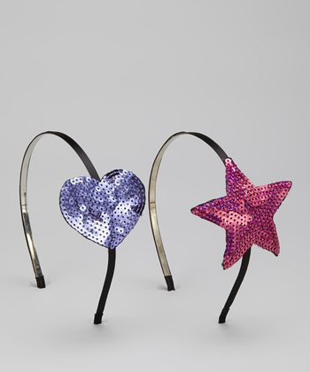 Pink & Purple Sequin Heart & Star Headband Set