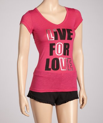 Fuchsia 'Live For Love' Pajamas