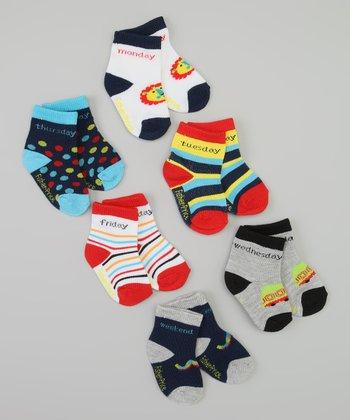 Blue, White & Black Days of the Week Socks Set