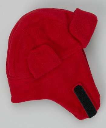 Red Fleece Earflap Beanie