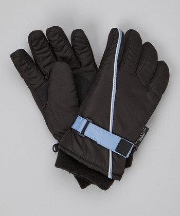 Black Stripe Ski Gloves