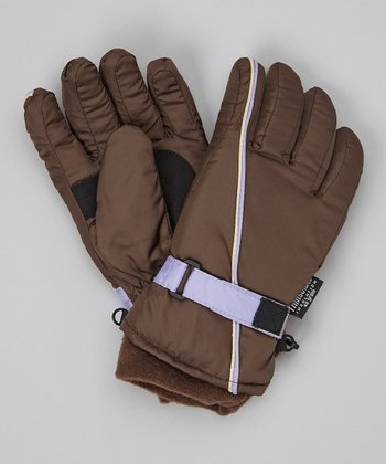 Brown Stripe Ski Gloves